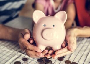 Family piggy bank budgeting saving