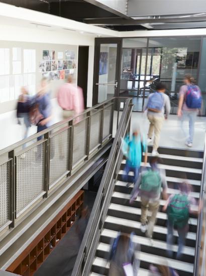 students in a school hallway