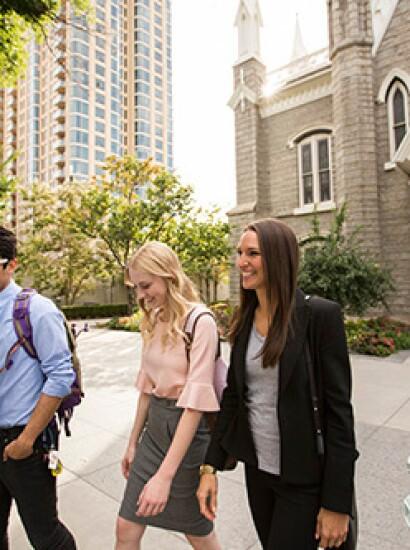 students walking outside learning