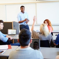 Teaching students in a classroom