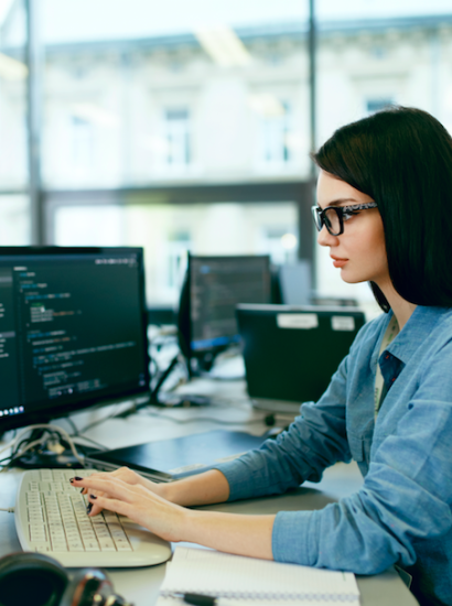 woman at work as a programmer