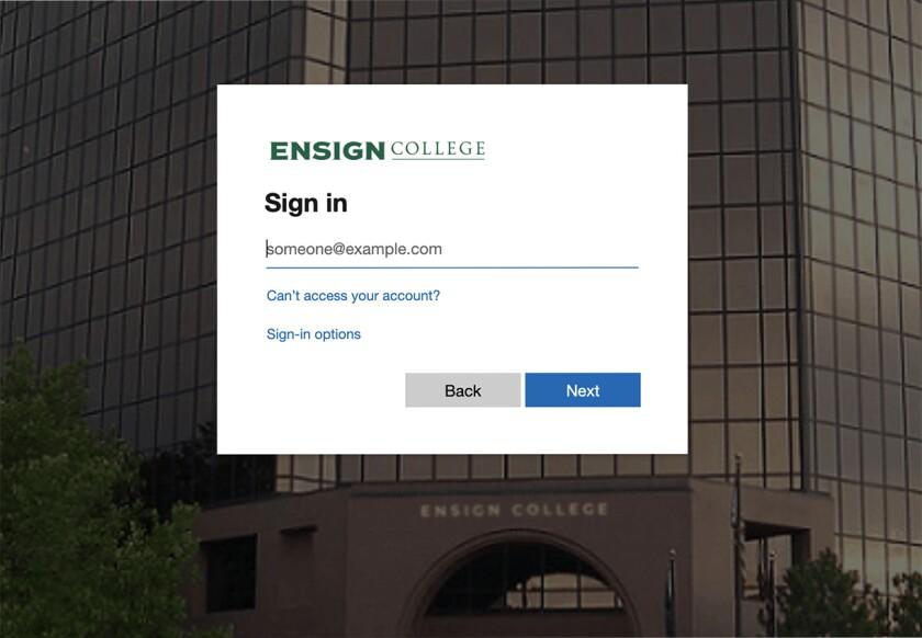 MyBC login screen