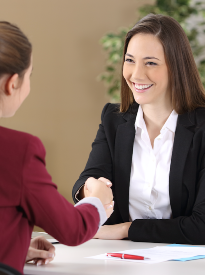 female graduate in a job interview