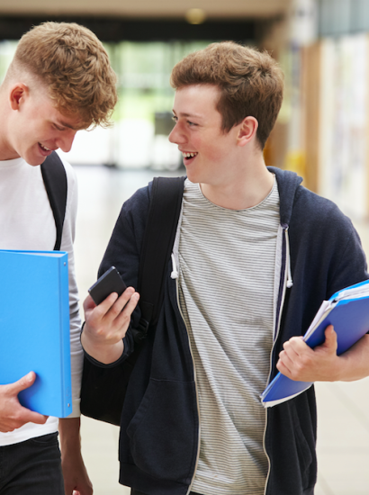 two male students talking