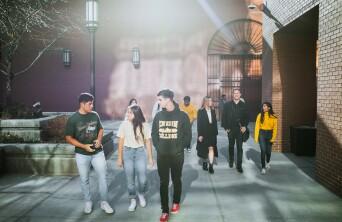 Group of students walking talking