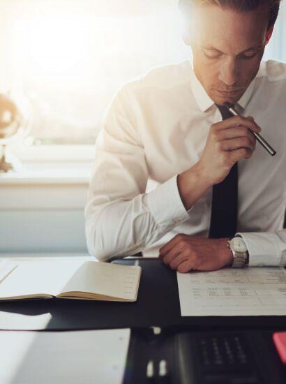 Man working at organized desk