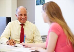 Student talking to advisor