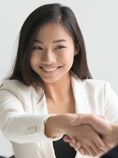 girl shaking hands in job interview